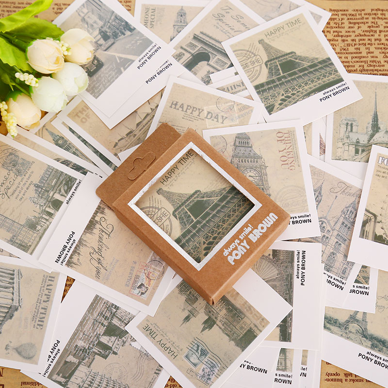 40 Pcs/box Retro Europe Landscape Mini Greeting Card Postcard Birthday Letter Envelope Gift Card Set Message Card