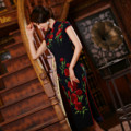 Hot Sale Qipao chinese style dress 2015 summer style long embroidered Cheongsams oriental dresses vestidos robe de soiree