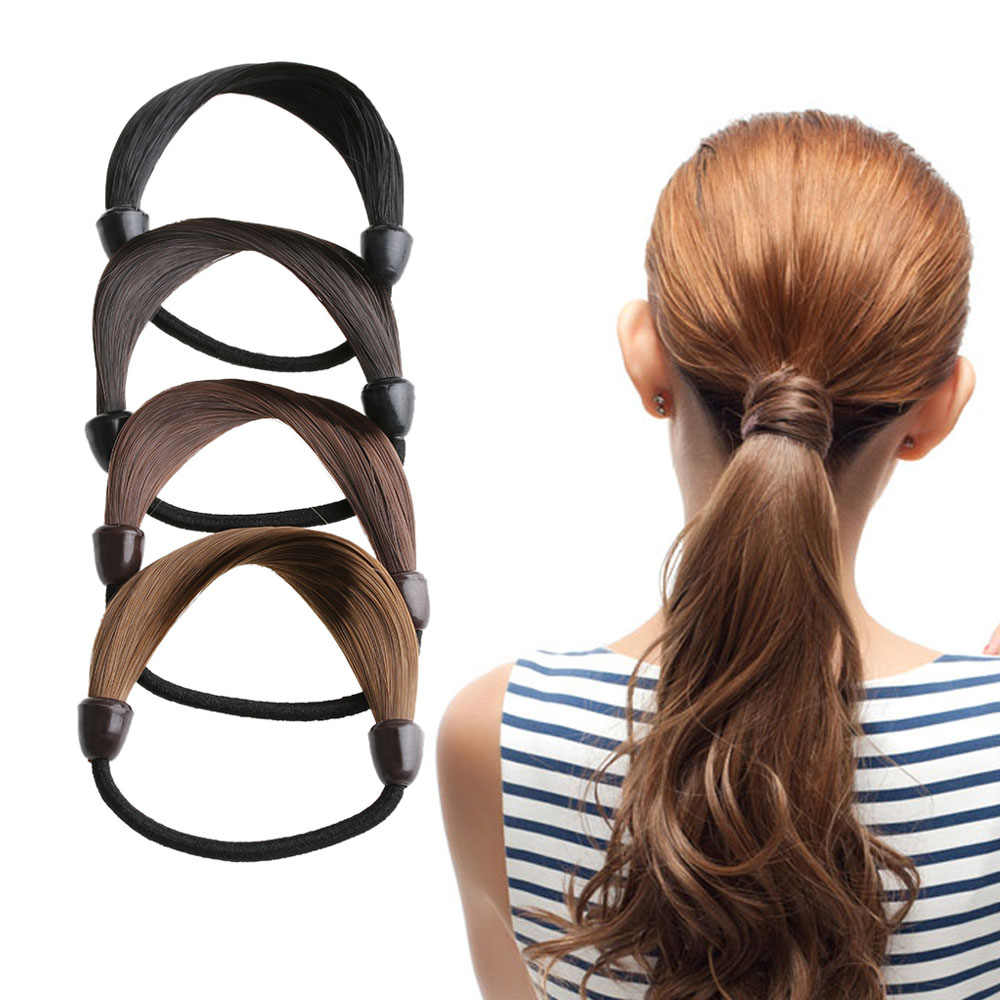 2Pcs Cute Girls Woman Hairpiece accessories Rope Hairband Synthetic Wig Elastic Headwear Ponytail Holder Hair Styling Tool