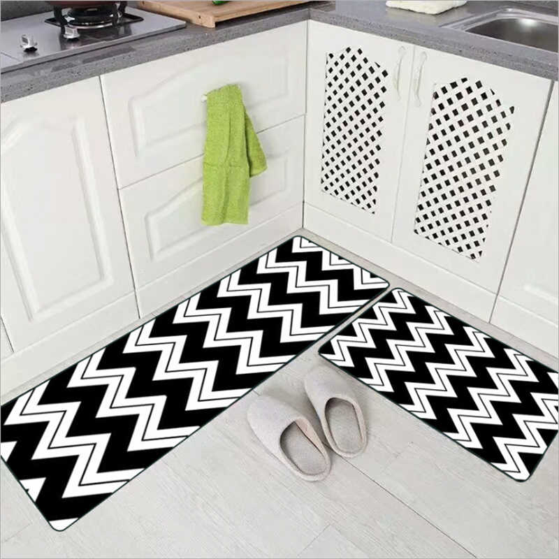 AOVOLL Simple Wavy Striped Kitchen Carpet Bedroom Rugs Kitchen Mats For  Floor Carpet Kids Room Waterproof Floor Mats