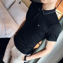 高品質ポロシャツ男性夏 2020 半袖男性ポロシャツスリムフィットターンダウン襟カジュアルポロシャツパラ hombre 3XL M