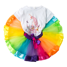 2Pcs/Sets Children's Suits Girls Clothes Set New Magical Unicorn Pattern White T-shirt Rainbow Tutu Skirt 2-8Y стоимость