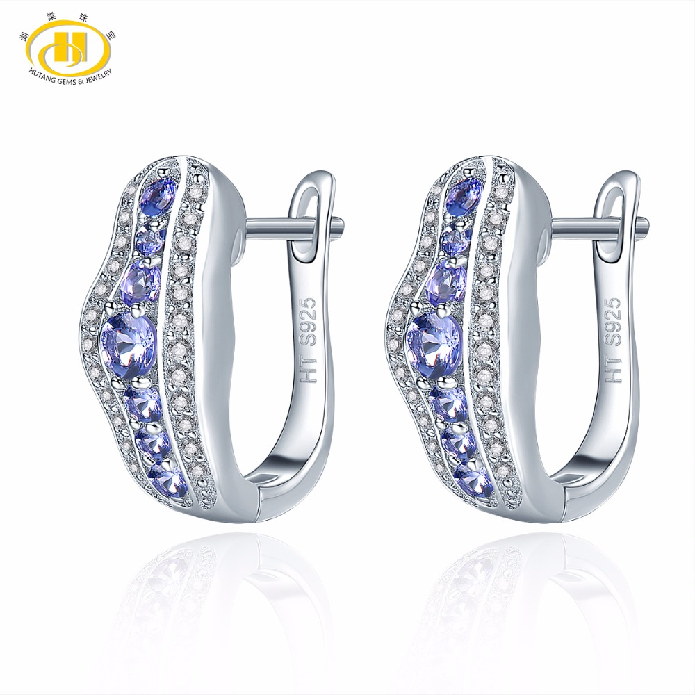 Hutang Gemstone Jewelry 925 Sterling Silver Natural Stone Tanzanite Hoop Earrings For Women Gift Fine Fashion Jewelry New 2018 colorful cubic zirconia hoop earring fashion jewelry for women multi color stone aaa cz circle hoop earrings for party jewelry