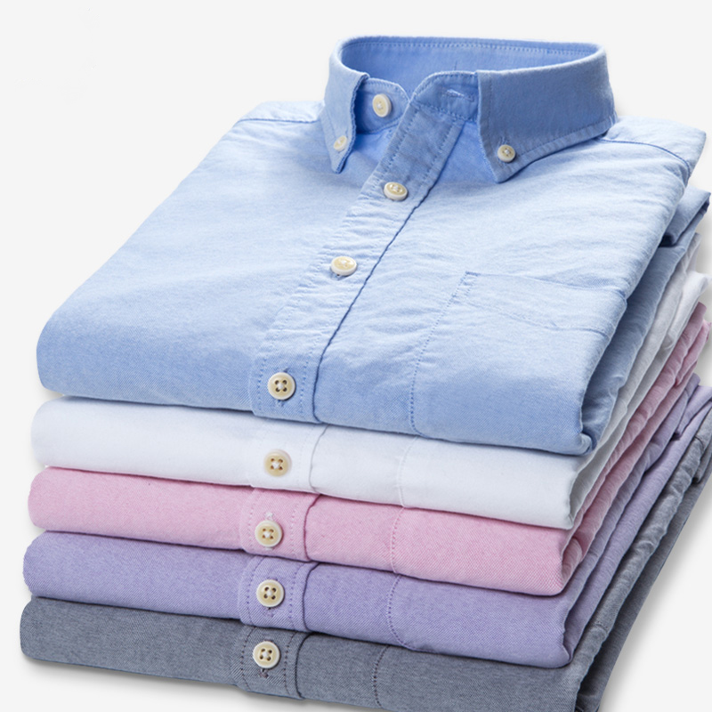 Plus Size 5XL 6XL 7XL 8XL 100% Cotton Oxford Pure Color Stripe Twill Business Casual Long Sleeve Dress Shirt Men Blue White Grey