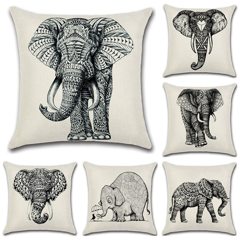 Brilliant Us 7 38 45 Off Linen Sketch Elephant Pillowcase For Home Black White Art Cushion Cover Set Office Sofa Decoration Hug Pillow Covers Clean Soft In Uwap Interior Chair Design Uwaporg