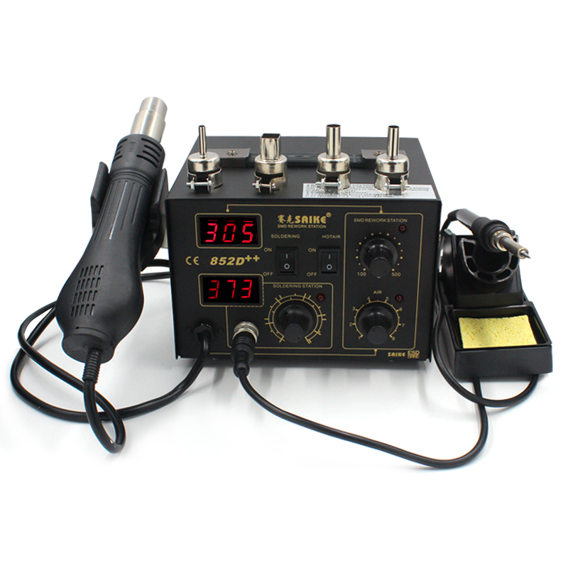 220V or 110V 2 in 1 Iron Solder Soldering Station Hot Air Gun Saike 852D BGA