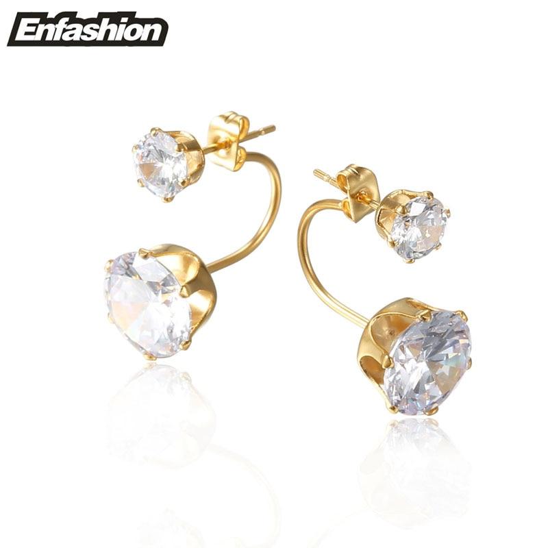 Enfashion Double Crystal Stud Earrings Rose Gold color Ear Jacket Earings Stainless Steel Earrings For Women Jewelry Wholesale