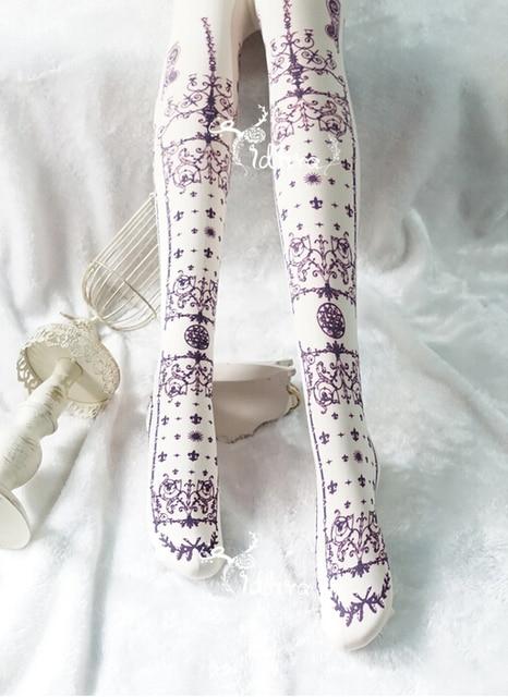 Vintage Baroque Style Print Ladies Lolita Tights Pantyhose Stockings