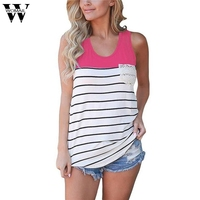 Womail Women Waistcoat Sexy Clothes Elegant Women S Fashion Stripe Lace Pocket O Neck Shirt Tank