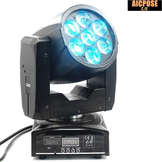 8 unités LED tête mobile Zoom lumière 16 DMX canal 7*12 W RGBW 4IN1 couleur DMX 7x12 w faisceau lumière mobile tête lumière scène professionnelle