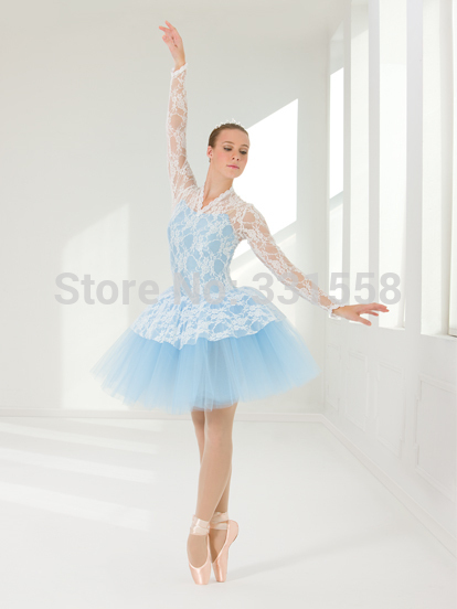 2014 New Arrival Girls Long Sleeve Debut Performance Ballet Tutu Dress With Lace Blue Or Lilac