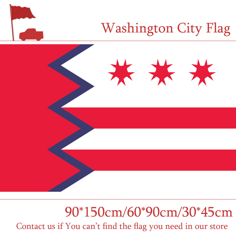 Free shipping 3x5 Feet Digital Printing 100d Polyester 90*150cm 60*90cm 30*45cm Car Flag Washington City Of Maine State