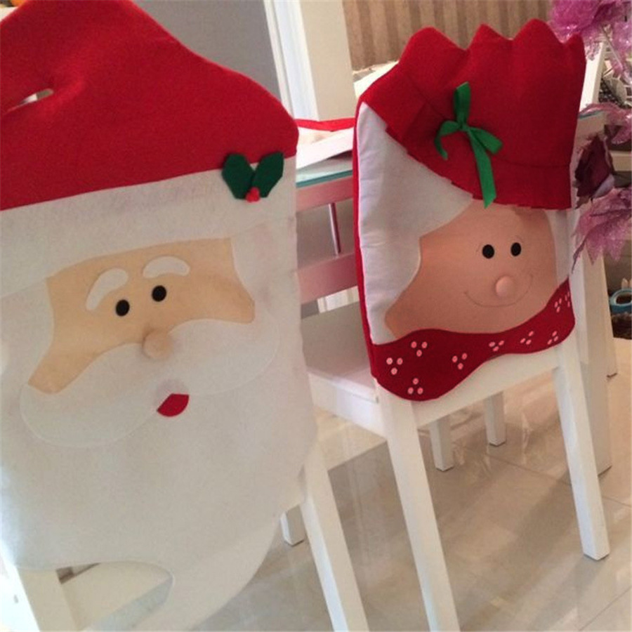 1PC Lovely Mr Mrs Santa Claus Christmas Dining Room Chair Cover Seat Back Coat Home Party Decor Xmas Table Accessory In DIY Decorations From