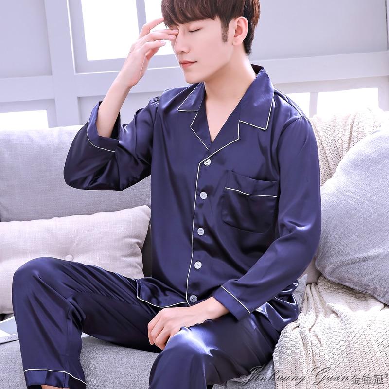 2018 New Brand Pyjamas Striped Full Sleeves Full Long Pants Pajama Set High Quality Satin Silk Sleepwear Men Pajamas