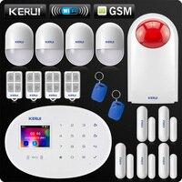 KERUI W20 New Model Wireless 2.4 inch Touch Panel WiFi GSM Security Burglar Alarm System APP PIR Motion Siren Rfid Control