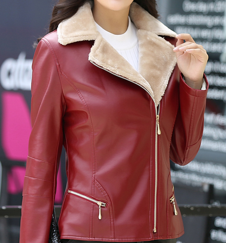 New Women's   Leather   Jacket 2018 Autumn Winter PU Leater Jackets Women Plus Velent Winter Women Coat Soft Outwear Abrigo Mujer