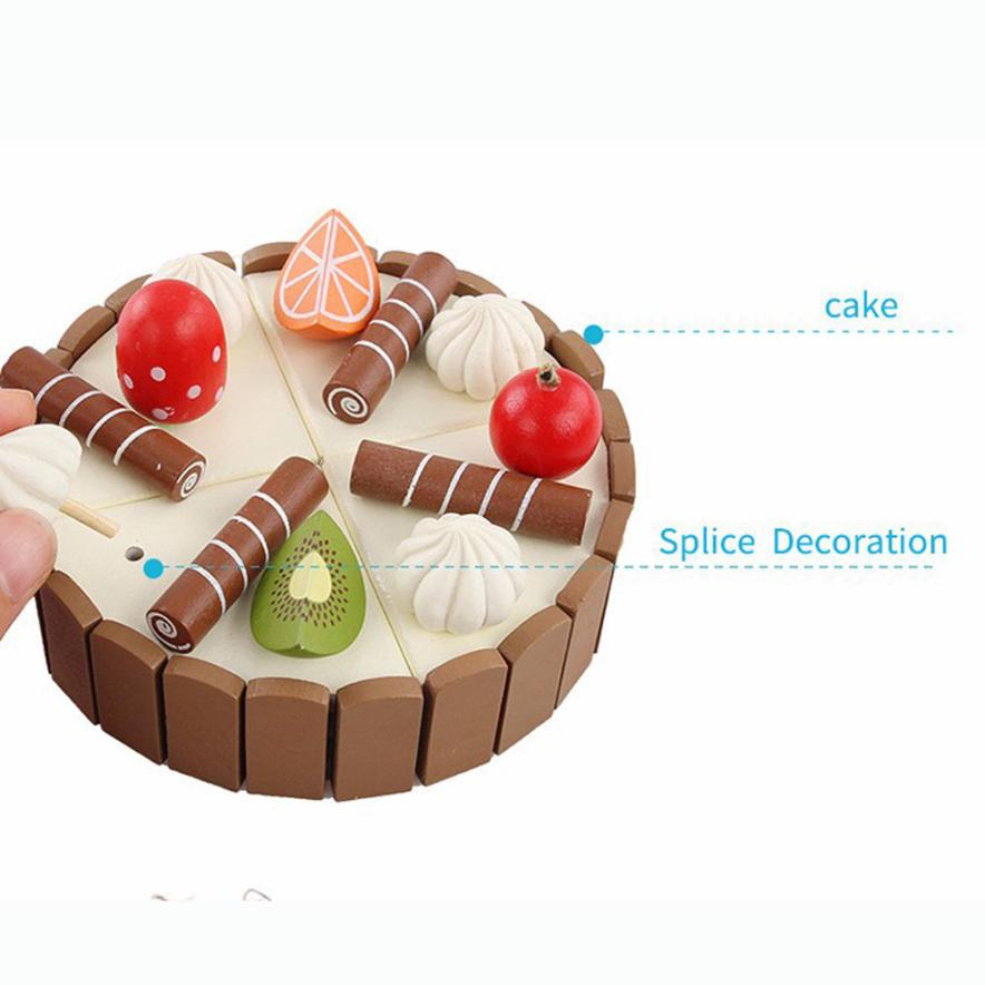 Magnetic wood Cutting Fruit Cake Pretend Play Children Kid Educational Toy 100% brand new and high quality Education Toy