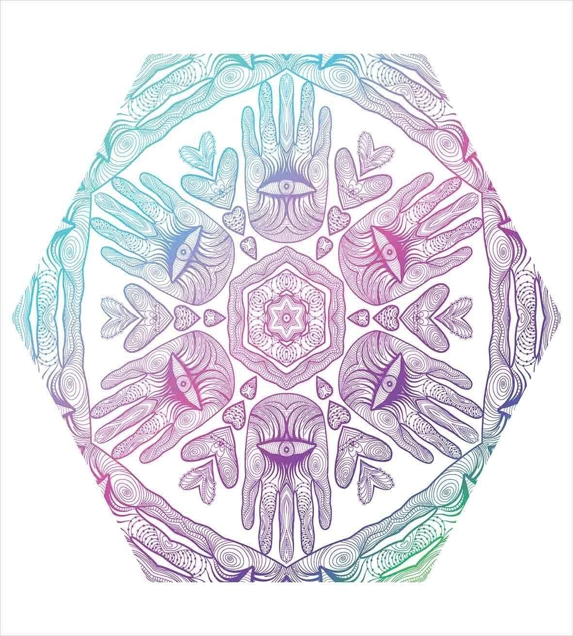Hamsa Duvet Cover Set Evil Eye Themed Boho Ombre Color Pattern Hamsa Hands Asian Cosmos Mystical Mandala Bedding Set Blue Purple