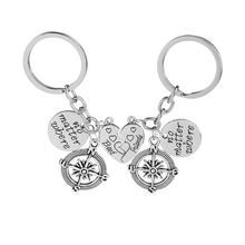 2 Pcs Best Friends No Matter Where Compass Key Chain Set Heart Friend Gifts for Teen Girls BFF Friendship Rings