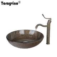 Torayvino Brown Round Tempered Glass Vessel Sink With Antique Brass  Bathroom Faucet And Pop Up Drain Sink Set DD425396006