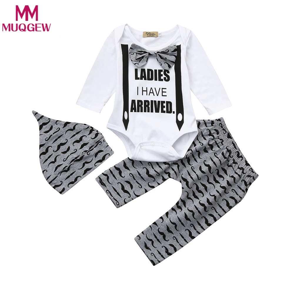baa74c7036a 3pcs set autumn Newborn Infant Kids Baby Boy Clothes Long Sleeve Beard  Printed Bowknot Tops