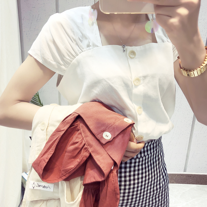 New Vintage Brief Short Sleeve Square Collarbone Low Collar Design Linen Blouse Shirt White Red Apricot D6550