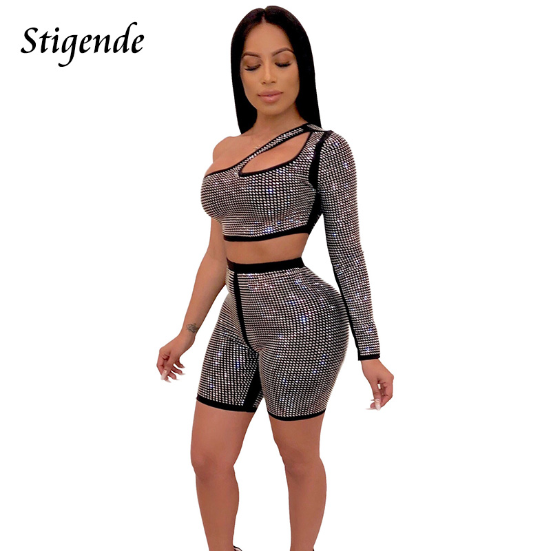 Stigende Women Sexy Club Party Two Piece Sequin Set Beading One Shoulder Crop Top And Shorts 2 Piece Set Fashion 2pcs Outfit Set