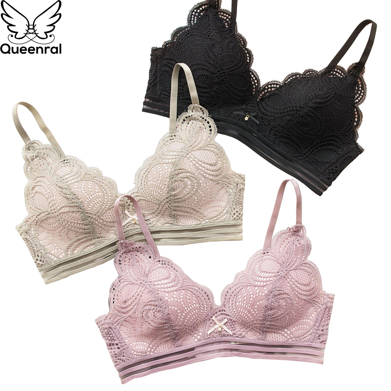 Queenral Lace Brassiere Bra Underwear Women BH Lingerie Sexy Bralette Push Up Soutient Gorge AB Cup Female Intimates Wire Free
