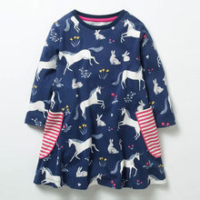 Jumping Meters Unicorn Long Sleeve 2018 Brand Autumn Dresses Baby Girls Costumes For Kids Clothes Applique Princess Children