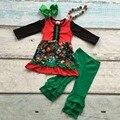 Meninas roupas De Natal do bebê meninas floral outfits crianças boutiques de roupas meninas de santa calças plissado verde com acessórios