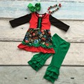 girls Christmas clothing  baby girls floral outfits children boutiques clothes girls santa green ruffle pants with accessories