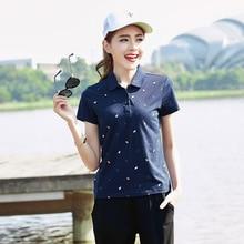 Summer New Women raph Polo Shirt Fashion Cotton Short Sleeve Ladies print Shirt Fashion Female Big