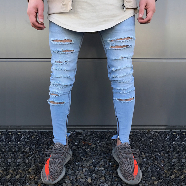 6f9fe90cab7 2018 Envmenst Top Fashion Men's High Street Ripped Jeans Hole Designed  Skinny Pencil Denim Pants Stretch Extend Biker Trousers