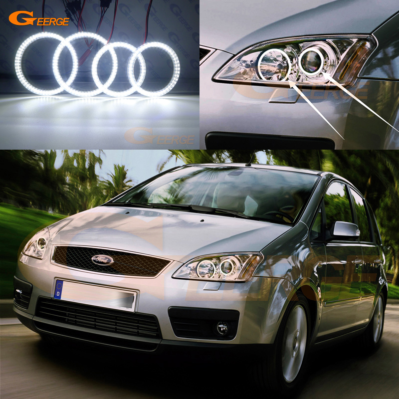 For Ford Focus C Max 2003 2004 2005 2006 2007 Xenon headlight Excellent Ultra bright smd led Angel Eyes kit DRL