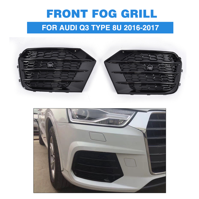 ABS Black Fog Light Grille Protective Mesh Covers for Audi Q3 Type 8U standard bumper only 2016-2017 2PCS/Set