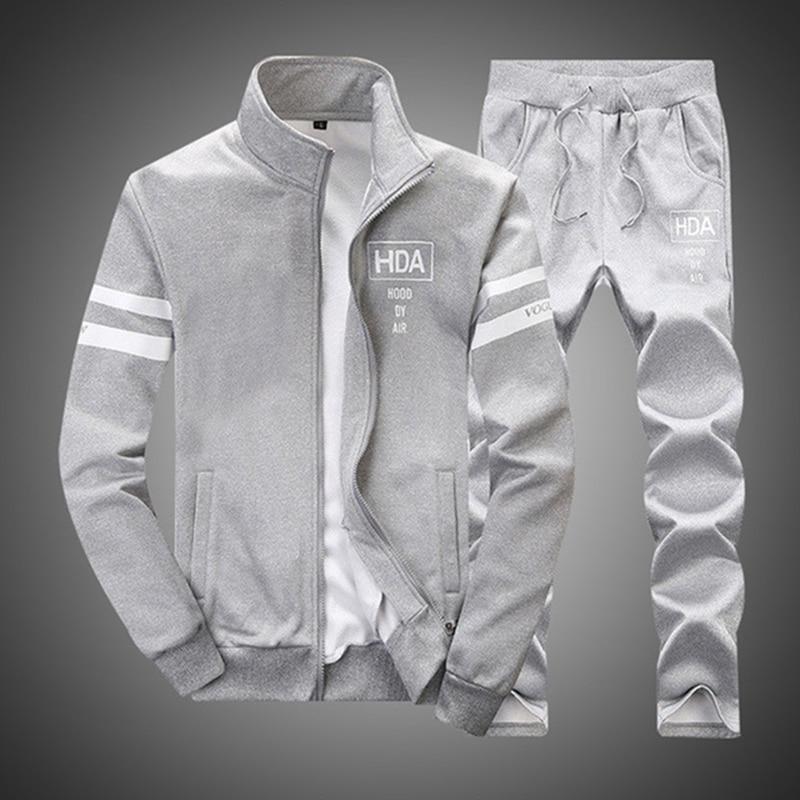 Sweatshirt Men Tracksuit Sweatpants Set New 2019 Brand Autumn Winter 2PCS Stand Collar Zipper Fleece Patchwork Casual Hoodie Men in Hoodies amp Sweatshirts from Men 39 s Clothing