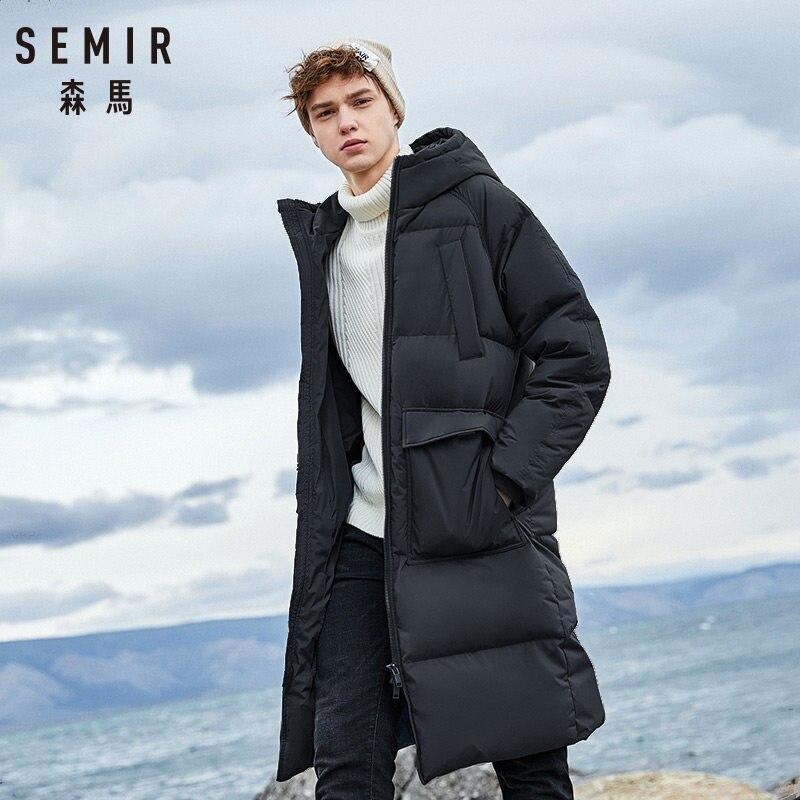 SEMIR 2019 nouveaux vêtements vers le bas hiver vestes affaires longue épaisse hiver manteau hommes solide mode pardessus vêtements d'extérieur chaud