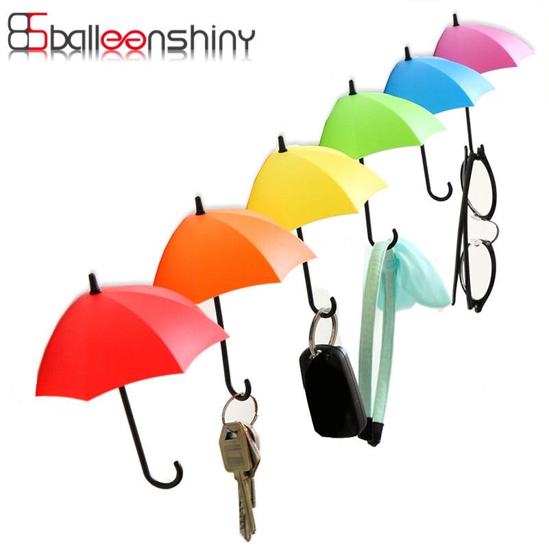 3pcs/lot Umbrella Shaped Creative Key Hanger Rack Decorative Holder Wall Hook For Kitchen Organizer Bathroom Accessories