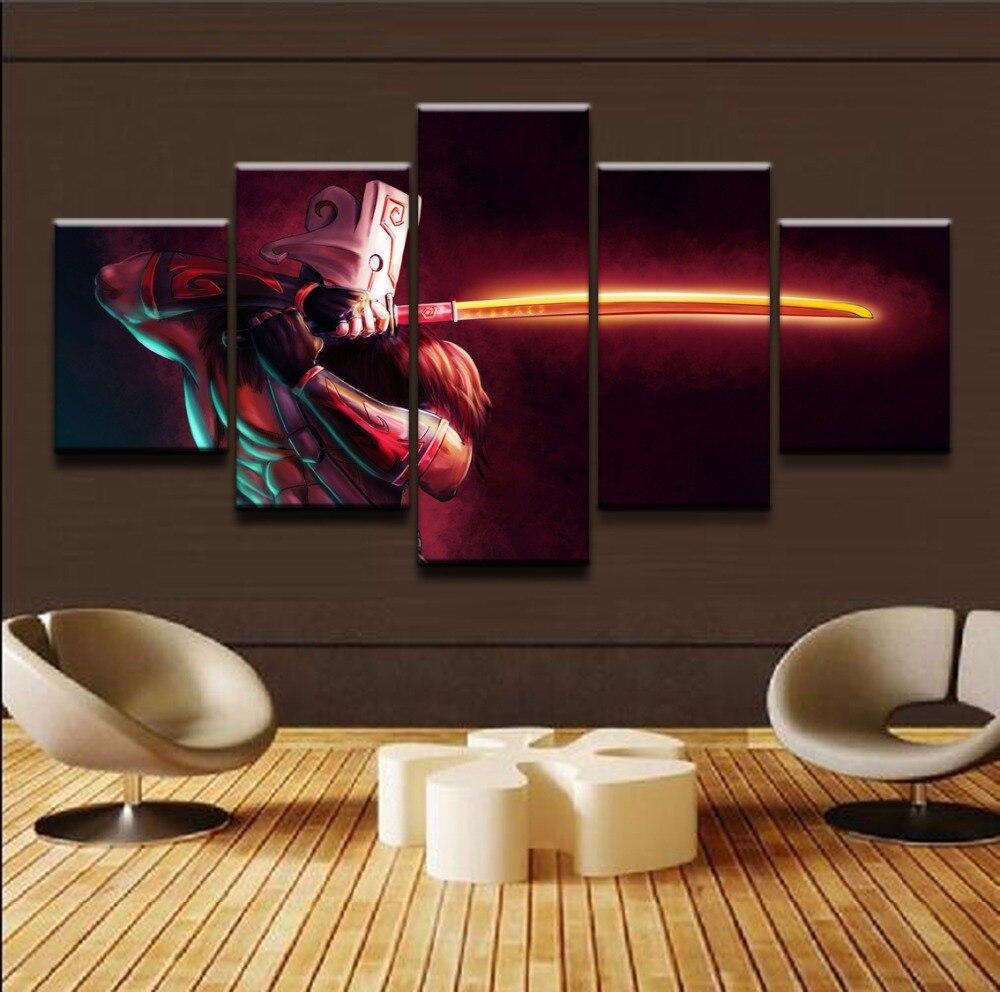 Rahmen 5 Panels DOTA 2 Juggernaut Modern Home Dekorative Leinwand ...