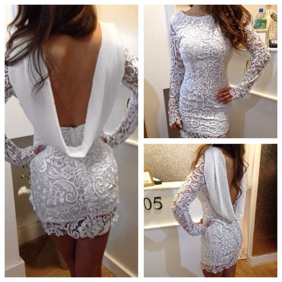White Plus Size Mermaid Long Sleeve Short Evening Prom   Dress   2019   Cocktail     Dresses