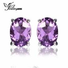 JewelryPalace Oval 1.4ct Natural Purple Amethyst Birthstone Stud Pendientes el 925 Puro de Plata 2016 Nueva Joyería de Las Mujeres