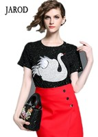 2017 New Arrival Summer Women Casual Embroidery Short Sleeve Swan T Shirts Ladies Sequins Basic Tops