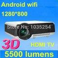 Dhl EMS бесплатная доставка яркие 5500 lumens из светодиодов полный HD 1080 контрастность 6000 : 1 3d-проектор встроенный Android 4.2 WiFi