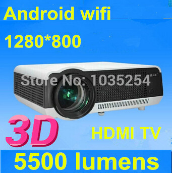 Dhl el ccsme libera Shiping 5500 lumens brillantes LED proyector Full HD 1080 contraste 6000 : 1 proyector 3D proyector incorporado en Android 4.2 WiFi