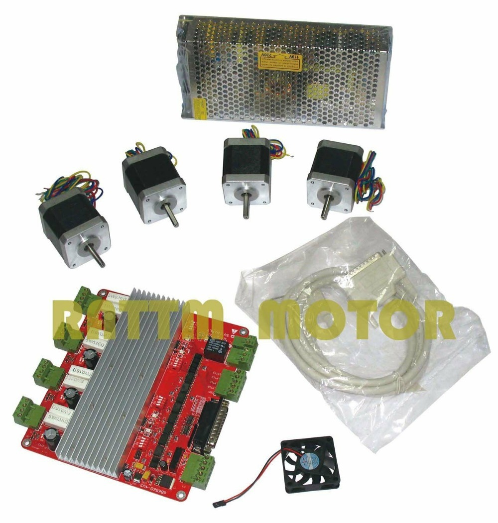 4 axis CNC kit 4pcs NEMA17 78oz-in stepper motor 48mm 4 Leads + 4 axis TB6560 Driver board breakout card for CNC Router
