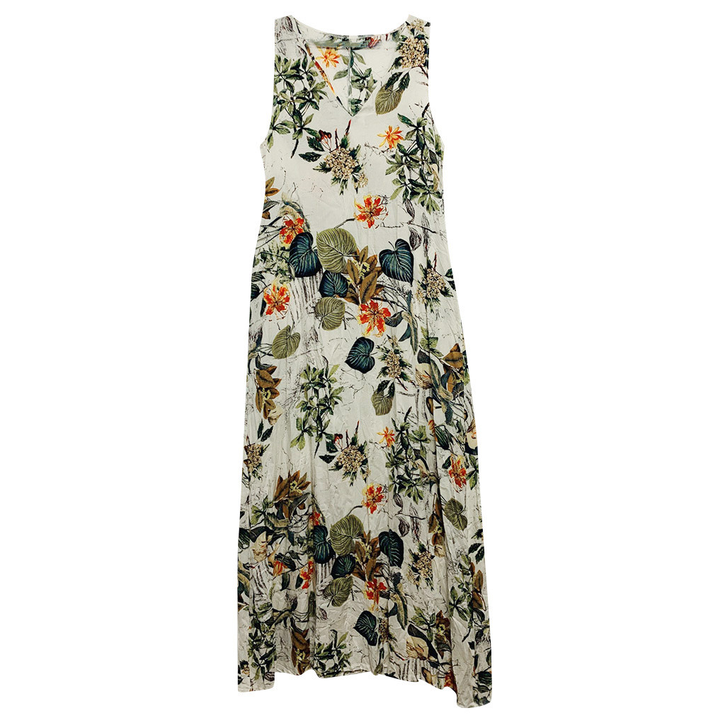 KLV summerwomen dress dress 2019 's Casual Sleeveless V-neck Flower Print Maxi Tank Long Dress free shipping D4