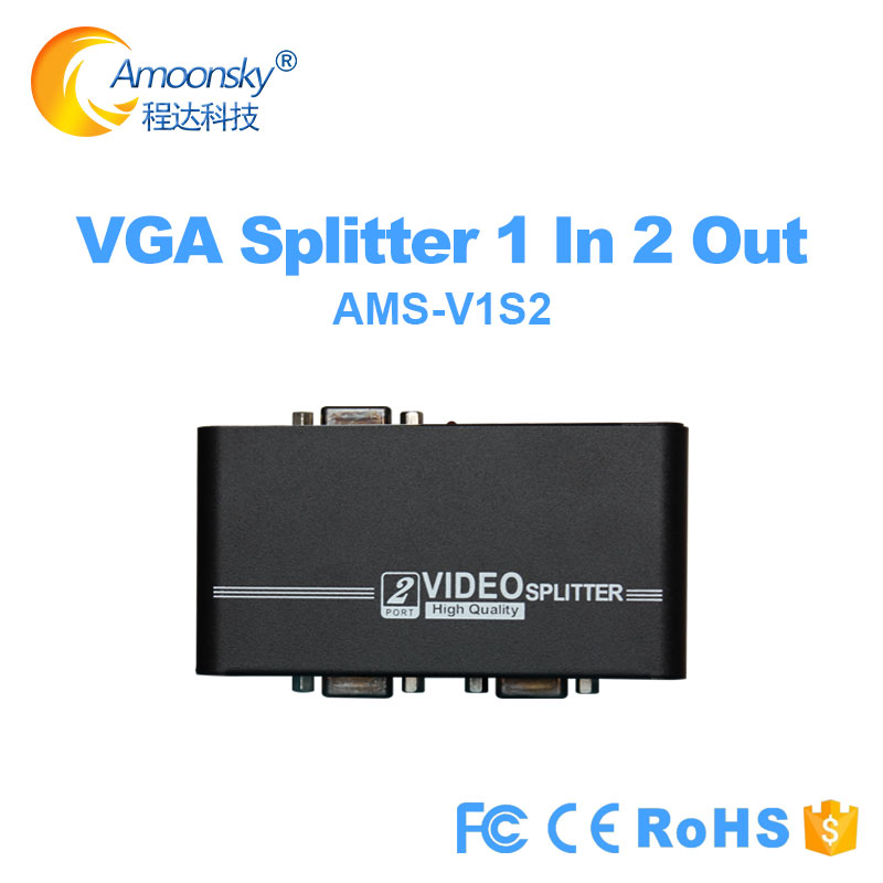 LED stage rental display Vga Splitter 1 in 2 out video splitter support 1920*1080 VGA <font><b>450mhz</b></font> Converter Box Adapte V1S2 image