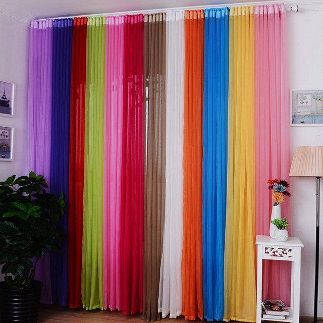 Colorful Living Room Curtains: 15 Colors Curtains For Living Room 1PC Home Hotel Office