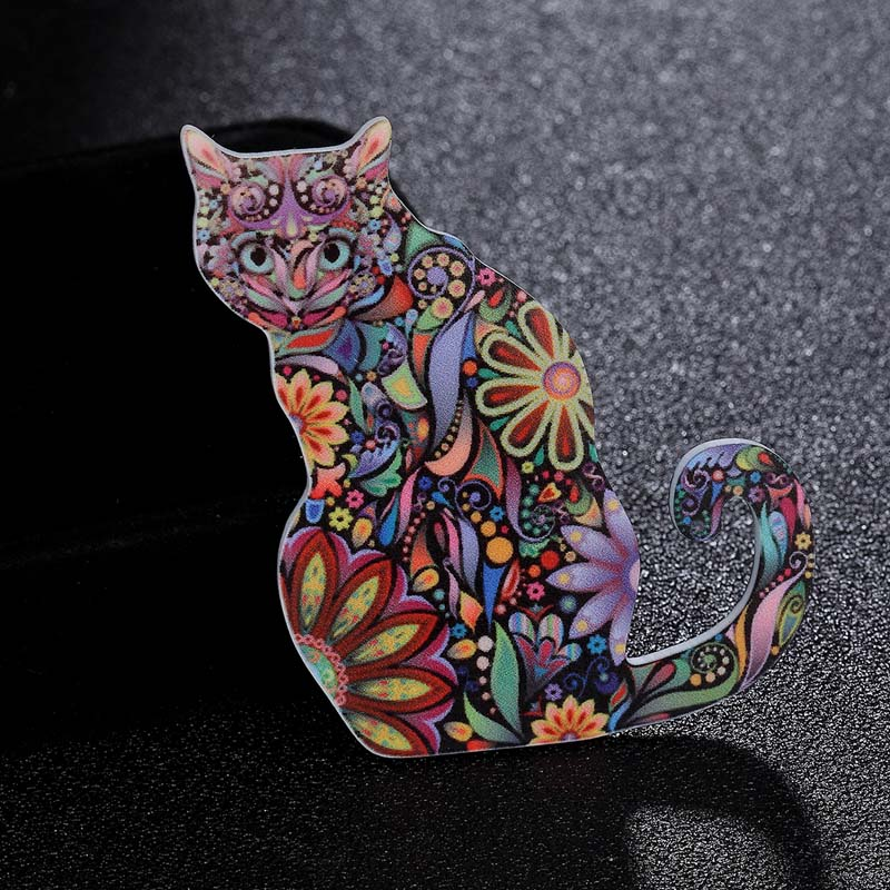 Zlxgirl jewelry Acrylic Animal Corsage Pins for Children Women Jewelry Cute Cat brooch Bags Scarf Suit Accessories 3pcs one lot