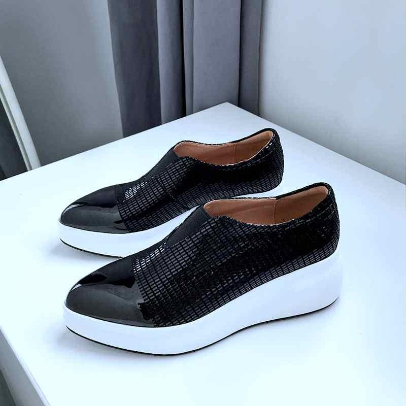 Cuñas de cuero de oveja de maceta Krazing zapatillas de punta puntiagudas de moda brillante casual gladiador zapatos vulcanizados L9f1-in Zapatos vulcanizados de mujer from zapatos    2